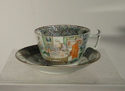 Rare Antique Chinese Export Porcelain Teacup Saucer Famille Verte Landscape