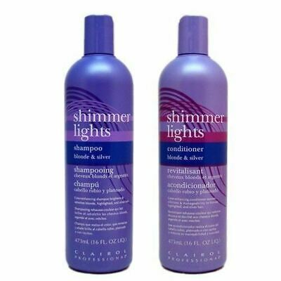 Clairol Professional Shimmer Lights Hair Shampoo/Conditioner For Blondes Silver