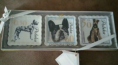 DOGHAUS Ceramic Polish Dog Stamps Catch All Trays Fr Bulldog/Airedale/Great Dane