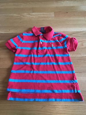 EUC Toddler Boys Polo Ralph Lauren Red/Blue Stripe Polo Shirt - Size 2t