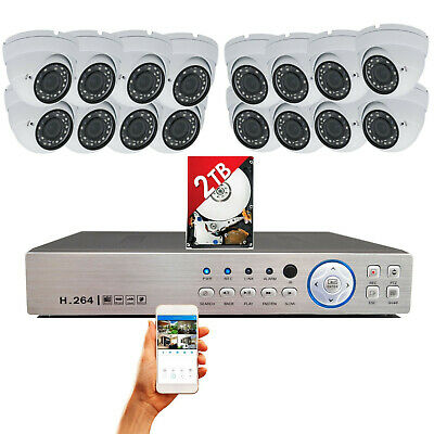 16 Channel HDMI DVR + 16x HD Night Vision CCTV Security Camera System w/ 2TB HDD