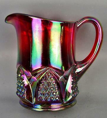 CARNIVAL GLASS - FENTON BUTTON and ARCHES RED Creamer 1990s