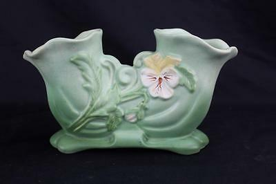 Antique Early Weller Pottery Light Green Double Vase with Flower Motif G-9