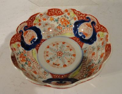 Antique Chinese Japanese IMari Porcelain Bowl Enamel Landscape Decoration
