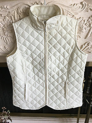 Women's Sz. Small IActive Ivory Sleeveless Quilted Jacket Vest S NWT