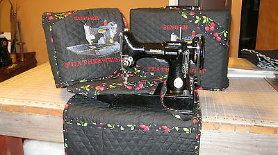 Singer Featherweight 221/222 Sewing Machine COVER SET with custom embroidery