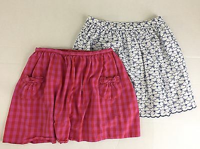 Lands End Kids Lot of 2 Girls size 16+ Skirts Blue White eyelet pink plaid EB5