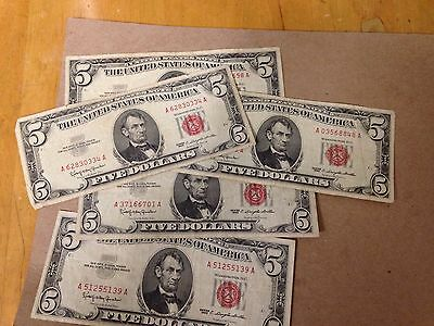 1963 Five Dollar Notes Red Seal (5) Circulated