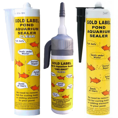 Gold Label Underwater Pond Sealant - 290ml & 75ml One Shot - Black and Clear