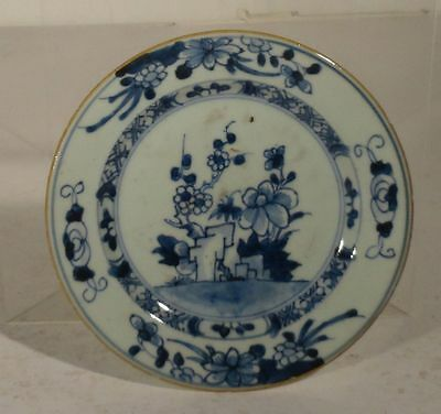 Antique Chinese Underglaze Blue and WHite Small Export Dish Floral As Is