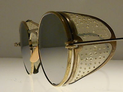 Vtg steampunk motorcycle safety sun glasses antique goggles WWII Matsuda style