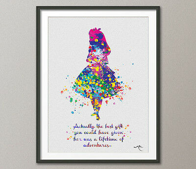 Alice in Wonderland Quote Watercolor Print Archival Fine Art