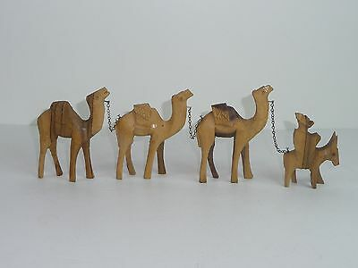 Chain of Olive Wood Camel Figures with Donkey Hand Carved Vintage