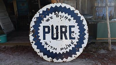 """Genuine 1930s Vintage 72"""" Round Be Sure With Pure Gas Station Sign"""