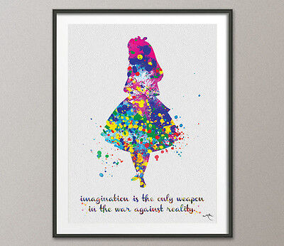 Alice in Wonderland Motivational Quote Watercolor Print Nursery Wall Art Decor