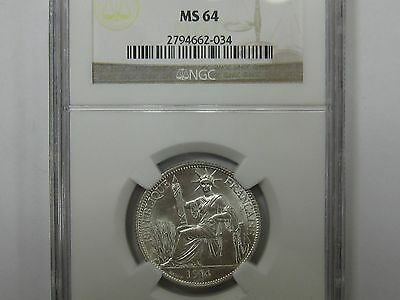 1914A  French Indo China 20 Cents  Ngc Ms64 Rare