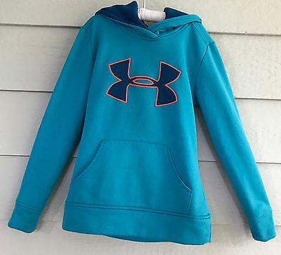 Under Armour, size youth small (YSM/JP), Aqua Blue hoodie pullover fleece - J