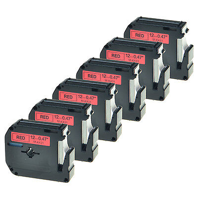"6 Pack Black on Red Label Tape for Brother P-touch MK431 M-K431 PT-65 1/2"" 12mm"