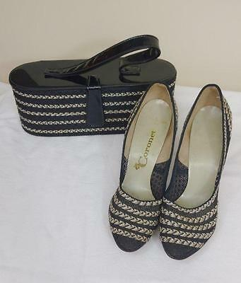Vintage 1950's Coronet Ladies Mesh Black and White Heels With Matching Oblong Pa