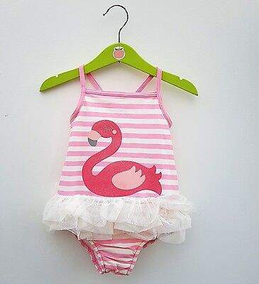 New Ex M&S Baby Girl swimsuit swimming costume with built in nappy. 3-24 m 2-3 y