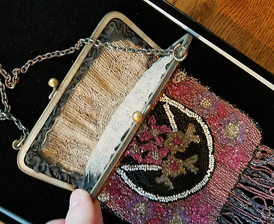 Vintage antique beaded purse with dispay case  NICE