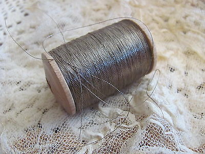 Antique 1920s French Silver Metal Metallic Embroidery Thread Spool 1 ply