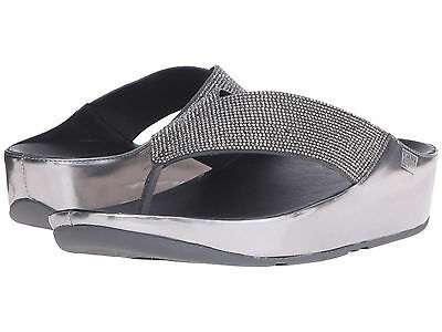 8abf6e48eb9e36 Women s Shoes Fitflop Crystall Toe Post Wedge Sandals B34-054 Pewter  New