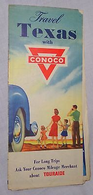 1940s Vintage Conoco Oil Travel Texas Map with Advertising