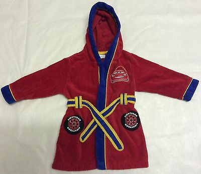 BABY DISNEY STORE RED BATH ROBE CAR DESIGN STYLE DRESSING GOWN AGES 12-18 Months