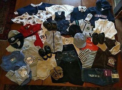 Lot of 31 Baby Boys Clothes/Shoes/Hats - Size 6-9-12 Months
