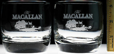 The Macallan Single Malt Scotch Whisky Glasses Lot of 2 Tumbler Rocks Whiskey