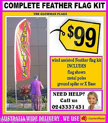 Fish & Chips flag pole kit feather flag banner sign + spike + poles