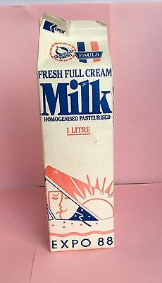 Vintage Collectable World Expo 1988 Brisbane ..advertising Used Milk Carton