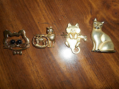 Vintage Lot Of -  4 -Goldtone Kitty Pins,brooch