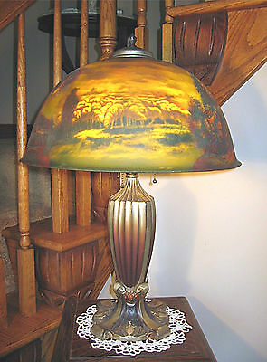 Antique Pittsburgh Reverse And Obverse Painted Lamp