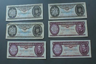 Vintage Currency - Hungary Banknotes (Magyar) - Lot of 6 Notes (1980's)