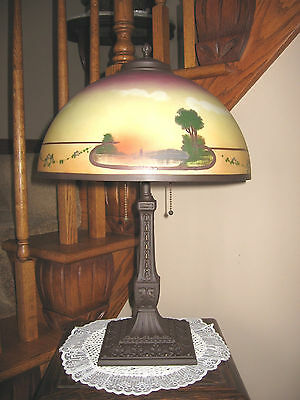 Antique Pittsburgh Obverse Not Reverse Painted Lamp - Double Signed