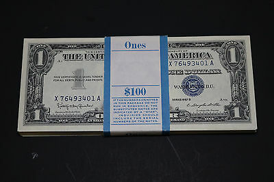 1957B $1 Silver Certificate Note ( Original Pack 100 Consecutive # Unc Gem )