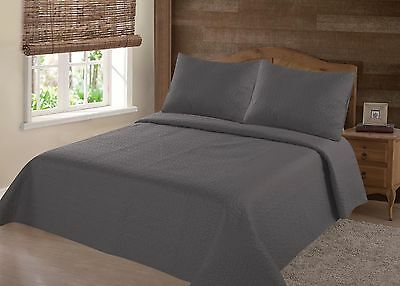 Midwest Charcoal Nena Solid Quilt Bedding Bedspread Coverlet Pillow Cases Set