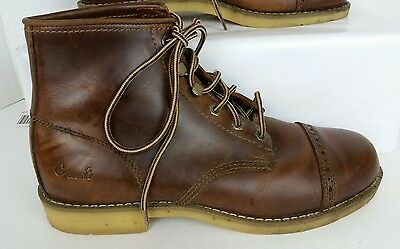 Georgia Giant Boot Mens Brown Leather Work Ankle Boots Shoes 8.5 M Cap Toe