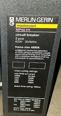 Merlin Gerin MP40H1 4000A Masterpact EO Circuit Breaker Square D 4000 Amp LSI
