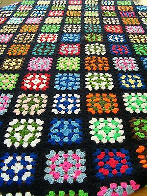 "Handmade Crochet Afghan Granny Squares Throw Blanket 70""x 95"" Multi-Color"