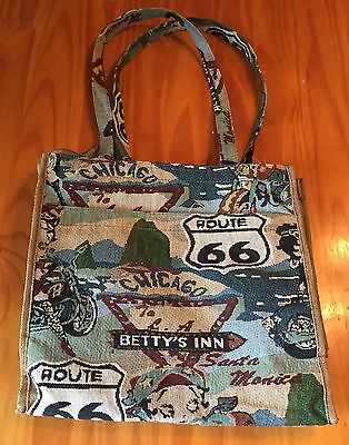 RARE! BETTY BOOP ROUTE 66 Travel Bag Purse Knit Weave CHARMING!