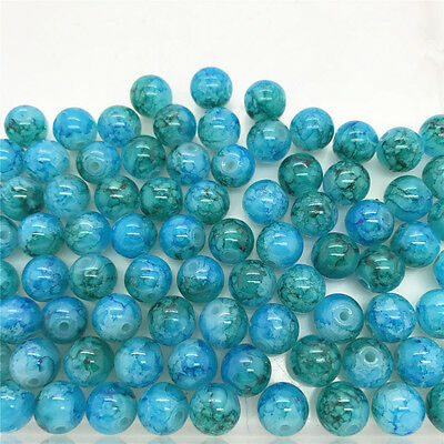 DIY 100 Pcs 4mm Loose Beads Round Spacer Double Colors Glass Jewelry making #01