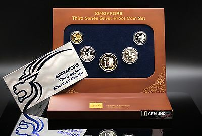 Singapore 3rd Series Silver Proof Coin Set With Original Case & COA