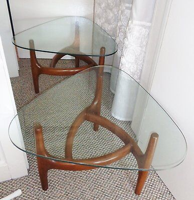 Pair Adrian Pearsall Style End Tables Mid Century Modern