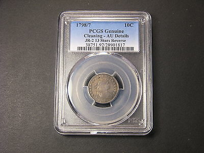 1798/7 13 Stars Reverse ( JR-2 ) Draped Bust Dime PCGS AU . Among finest known.