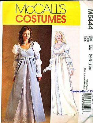 RENAISSANCE McCALL'S COSTUMES M5444 MY LADY PATTERN SZ EE 14-20 NEW MEDIEVAL