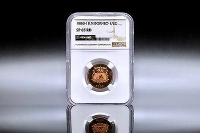 1886 British N.Borneo 1/2 Cent Specimen NGC SP 65 RD High Grade, Scarce Mintage