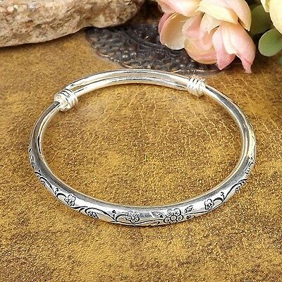 Vintage Women Tibetan Silver Bangle Carved Plum Blossom Bracelets Adjustable